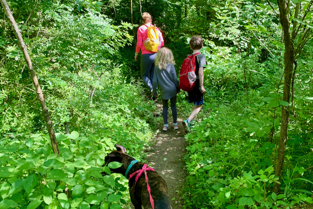The Allen family hiking through Eagle Creek Park